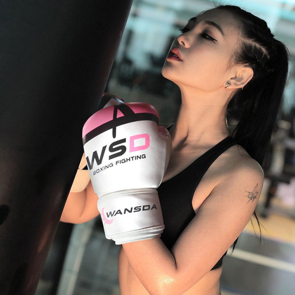 Alta qualidade adultos mulheres/homens luvas de boxe couro mma muay thai boxe de luva luvas sanda equipments8 10 12 6 oz 5