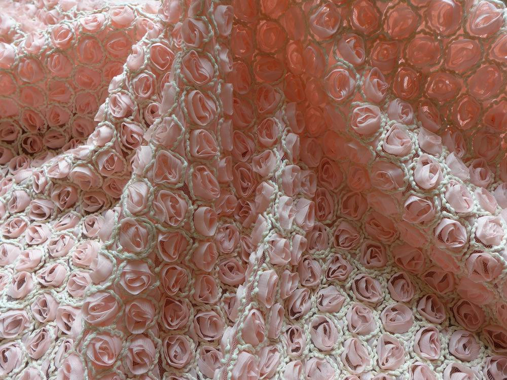 Romantic Chiffon 3D Rose Fabric Pink Chiffon Embroidered Flower Rosette Fabric for Bridal Fabric Dress