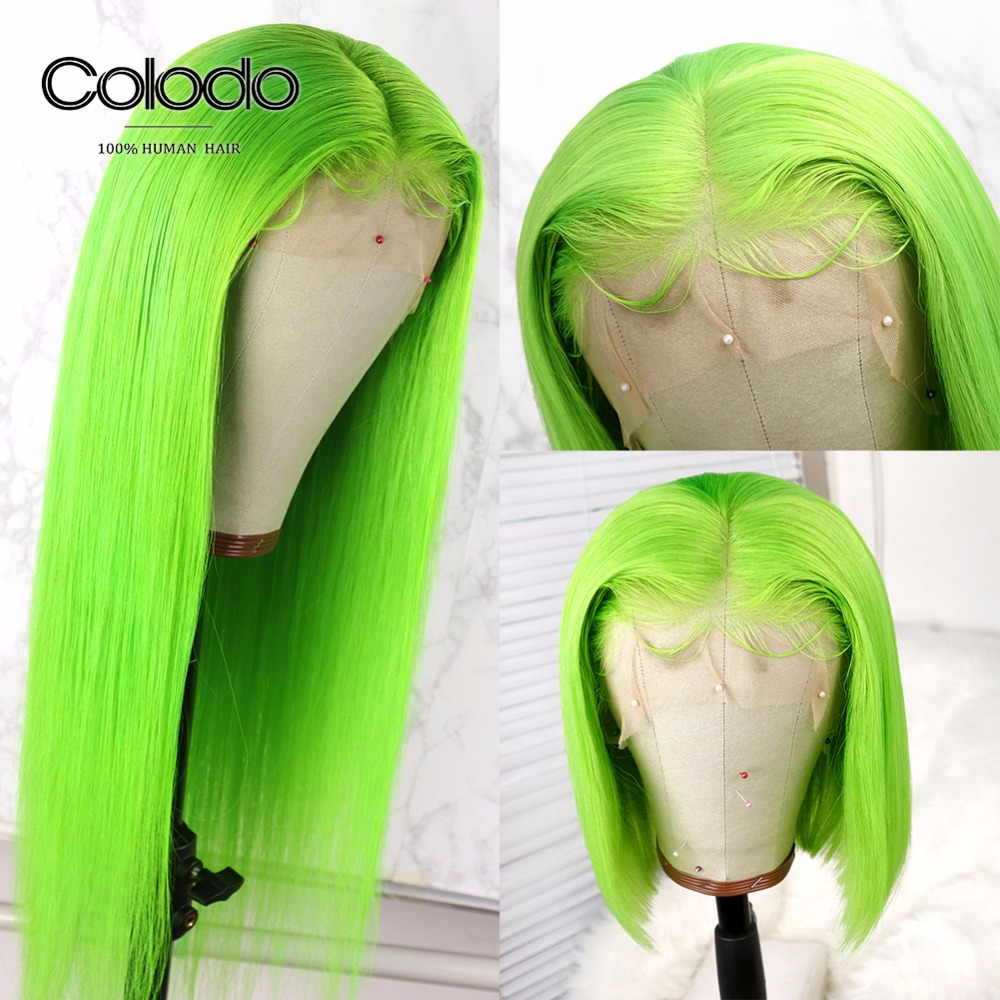 COLODO Lime Green Human Hair Wig Remy Brazilian Straight Wig PrePlucked BabyHair Transparent Full Lace Human