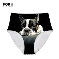 FORUDESIGNS Sexy Printed Pug Dog Cat Panties For Women Seamless High Waist Wolf Underwear Briefs Comfort