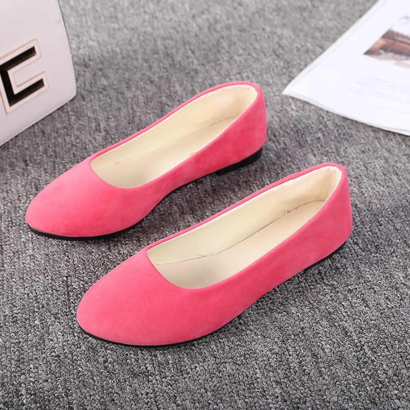 Plardin 2018 موضة قطيع المرأة الشقق ل جديد الصيف الانزلاق على جولة تو حذاء مسطح عادي الأساسية حذاء راقصة البالية امرأة حجم كبير