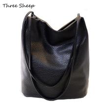 Schwarz Umhängetaschen Große Kapazität Eimer Tasche Haspe Frau Handtasche Solide Schultertasche Luxus Handtaschen Frauen Taschen Designer Tote