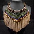 Nueva Moda Color de La Mezcla de Estilo Bohemio Étnico Joyería Fina Collar Borla Collar Grande Larga Cuentas de Oro Collar de Gargantilla para las mujeres