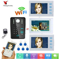 Yobang Security DHL 7 3 white Monitors Wired /Wireless Wifi Video Door Phone Doorbell Intercom System with 5pcs RFID Password