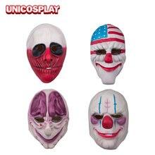 Payday 2 маски Joker Хэллоуин клоун Косплэй Уход за кожей лица крышка Маски для век Костюмы и аксессуары партии Новогодние товары игровой реквизит ZB000190