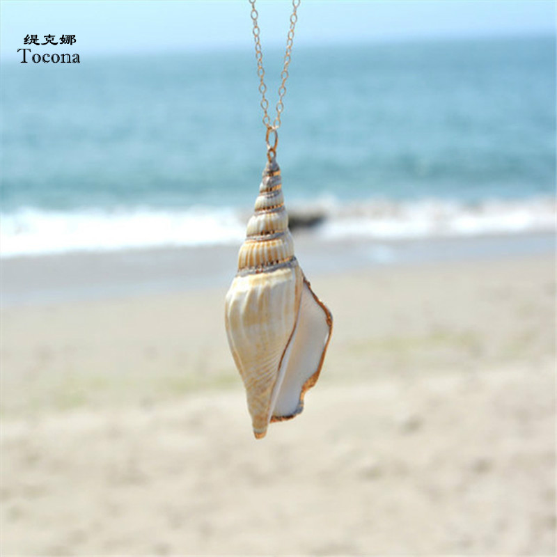 da7bea14105f Tocona Bohemia conchas de mar Collar COLGANTE para mujeres cadenas largas  Shell Collar encanto verano playa joyería accesorios 5443