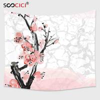 Cutom Tapestry Wall Hanging,Floral Japanese Cherry Blossom Sakura Tree Branch Soft Pastel Watercolor Print Coral Light Pink Grey