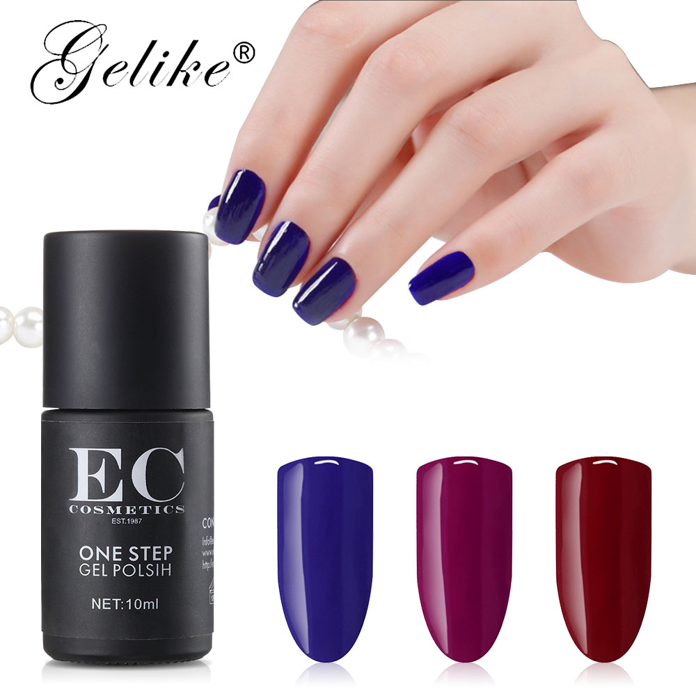 Gelike Brand Metallic 10ml One Step  Nail Polish  Glitter UV   Waterproof Pigment 12 Colors Shimmer