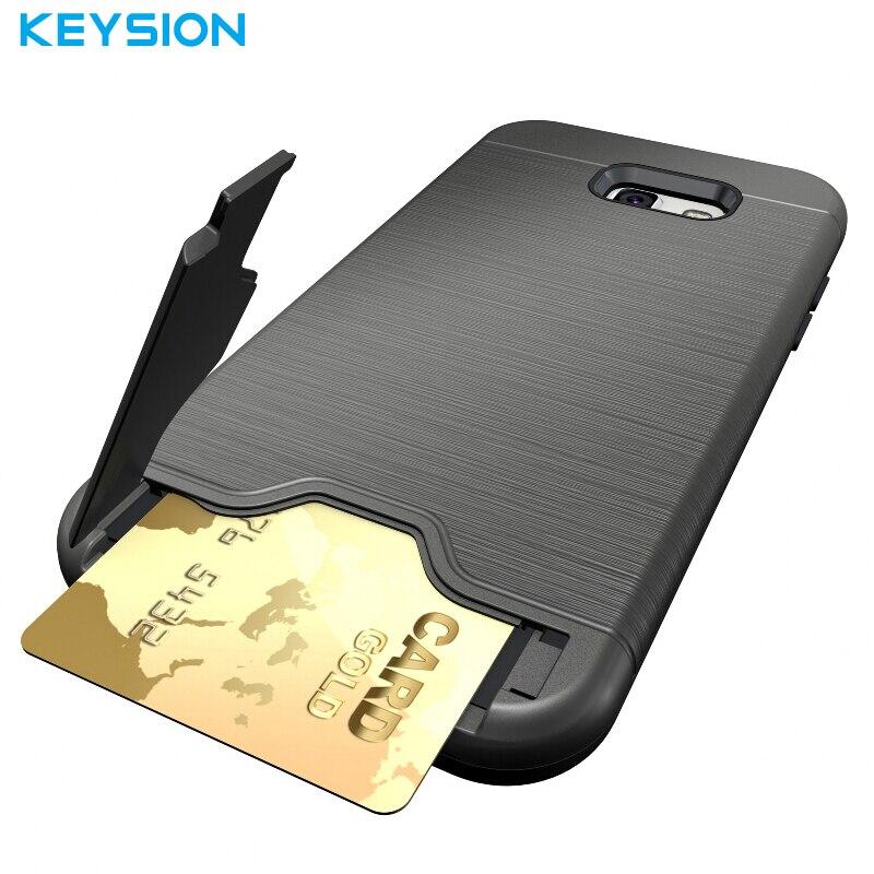 Keysion Fall Für Samsung Galaxy A7 2017 A720 PC + Silikon Dual Layer Gebürstet Zeichnung Textur Builtin Stand Kartenabdeckung Für A720F