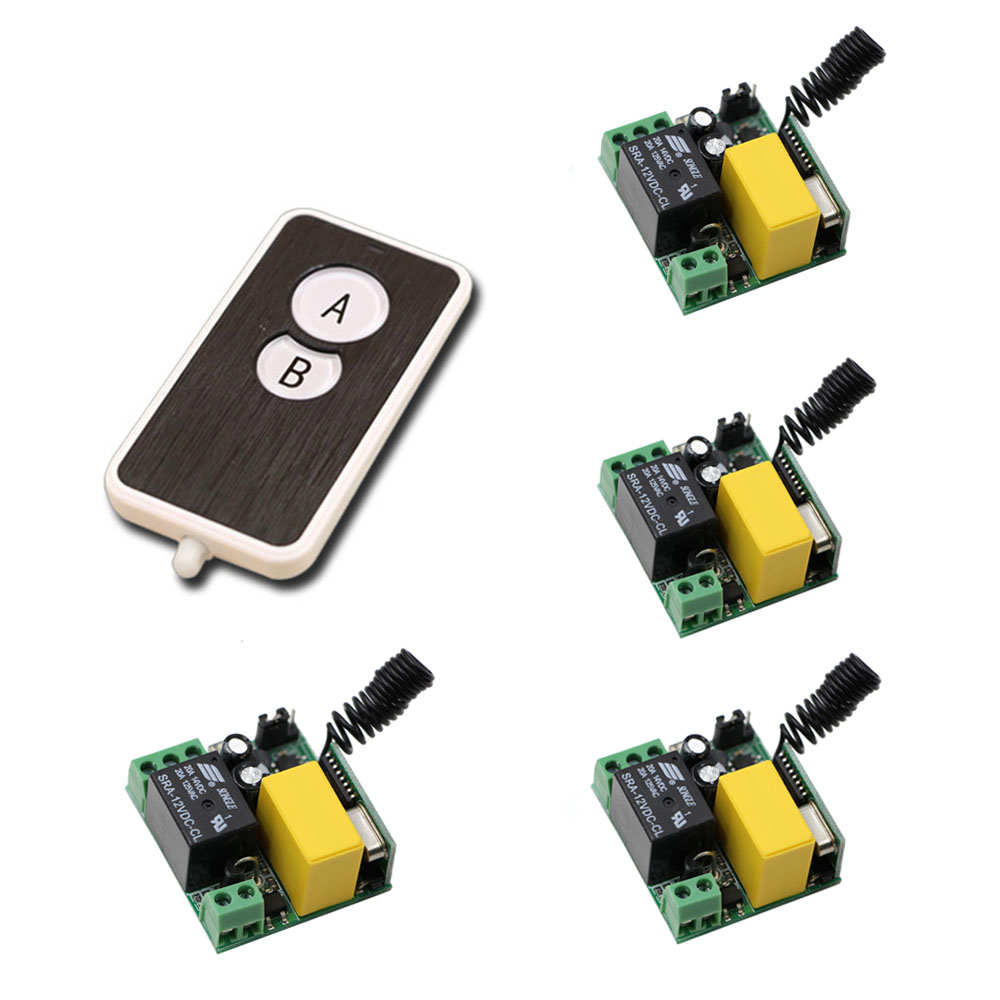 Smart Home 4pcs Receivers & Transmitter 220V 1CH 10A RF Wireless Remote Switch Light Lamp ON OFF Switch Hot Sale