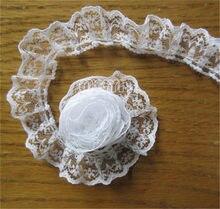 Rede de malha plissada branca, laço de borda, fita bordada, aplique, costura, roupas de casamento, 10 m/2cm