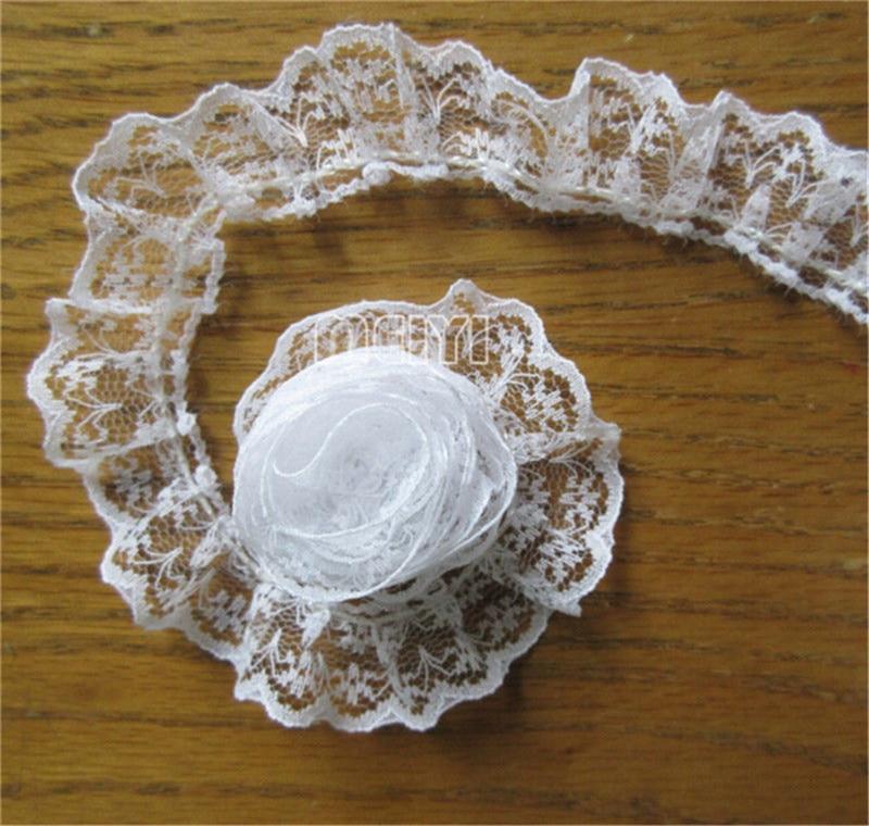 "5 Yards Pleated Organza Lace Edge Trim Gathered Mesh Ribbon Wedding Sewing 0.98/"""