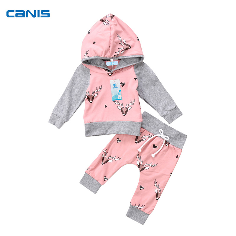 Newborn Toddler Baby Boys Girls Clothing Long Sleeve Deer Hooded Tops Cartoon Pants 2Pcs Autumn Set Clothes Outfits 0-24M 2017 newborn baby boys clothes set cartoon long sleeved tops pants 2pcs outfits kids bebes clothing childrens jogging suits