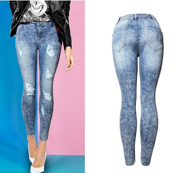 New Women's Vintage Ripped High Waist Stretch Denim Jeans