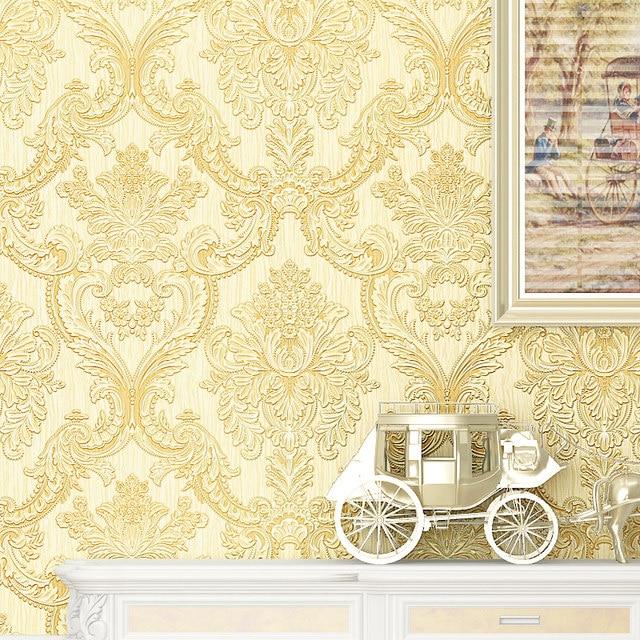 Beibehang Mural Classic Glitter Metallic Wall Paper Floral Texture Damask  Wallpaper Roll White Beige Bedroom Wallpaper For Walls