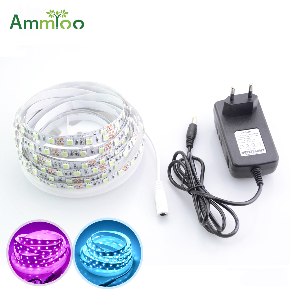 AmmToo 5M Led Light Strip DC 12V Fita De Led Strip 60lds/M SMD 5050 Flexible Led Tape Ribbon Pink Ice Blue Lighting + 3A AdapterAmmToo 5M Led Light Strip DC 12V Fita De Led Strip 60lds/M SMD 5050 Flexible Led Tape Ribbon Pink Ice Blue Lighting + 3A Adapter
