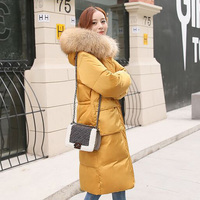 Winter Long Down Jacket Women 2018 Big Real Fur Collar Hooded White Duck Down Long Parkas Warm Coat Female Snow Outerwear