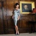 Cinza Curto Plus Size Mãe dos Vestidos de Noiva de Renda com Mangas Fora do Ombro Na Altura Do Joelho Applique Mãe Do Noivo vestido