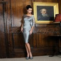 Gray Short Plus size Mother of the Bride Lace Dresses with Sleeves Off the Shoulder Applique Knee Length Groom Mother Dress