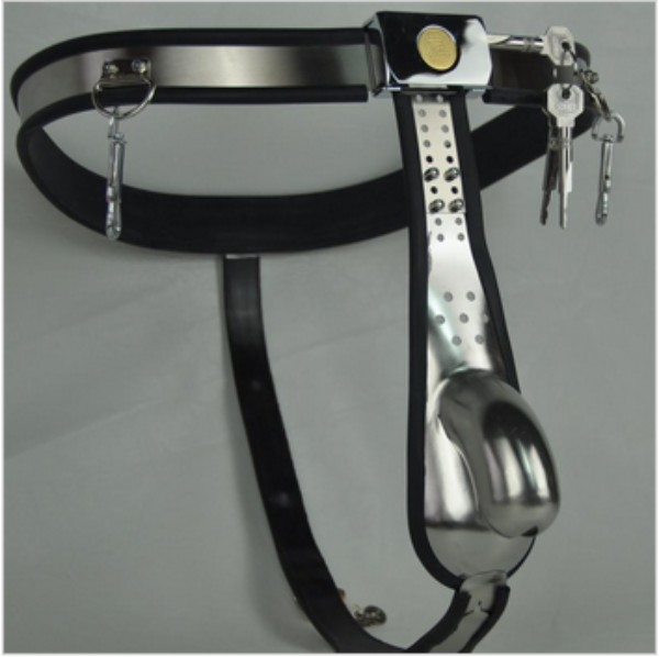 M128 nouveaux dispositifs de chasteté verrouillables masculins d'acier inoxydable avec la cage de coq d'anneau de pénis, jouets sexuels pour les hommes