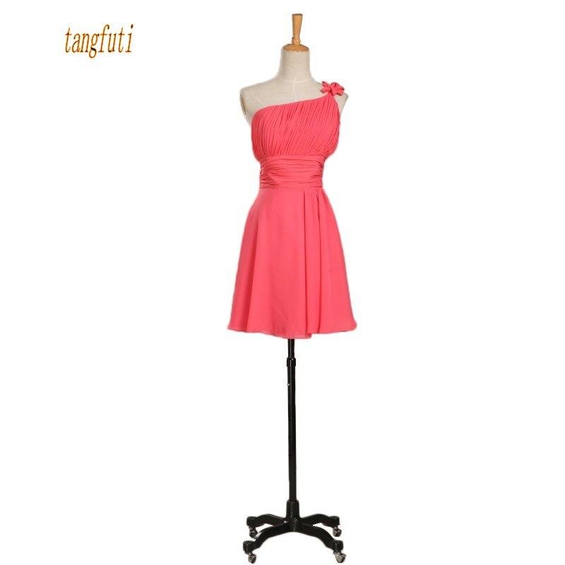 558fa7a847d One Shoulder Short Bridesmaid Dress A Line Pleats Chiffon Mini Wedding  Party Gowns