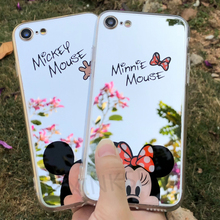 Luxe Acryl Minnie Mickey Mouse TPU Cases voor iPhone 6 7 8 6 s Plus X 5 5 s SE Case Spiegel Siliconen Mode Leuke Cartoon Cover(China)