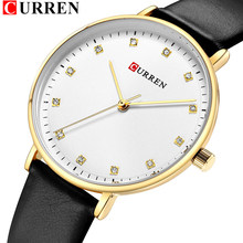 CURREN Hot Fashion Diamond Wrist Watches Womens Slim Comfortable Leather Watch Quartz Ladies Clock Female Relogio Feminino(China)