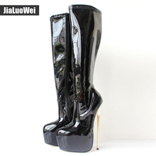 22CM Extreme High Heel Platform Boots Pu Leather Zipper Gold Metal Heels Knee-High