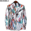 2017 Men's Shirts Mens Quality Luxurious Ink Printing Casual Tuxedo Shirt Male Long-Sleeve Cotton Brand Dress Shirts AZ131