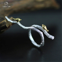 Lotus Fun Real 925 Sterling Silver Natural Original Handmade Fine Jewelry Adjustable Ring Bird On Branch