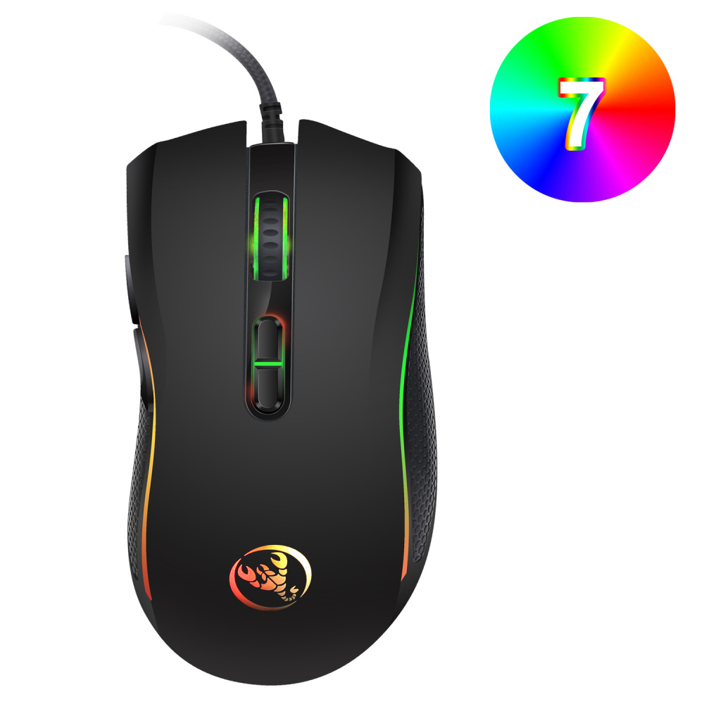 Image 5 - HXSJ New 3200DPI 7 Buttons 7 color LED Optical USB Wired Mouse player mice computer mause mouse Gaming Mouse For Pro gamer-in Mice from Computer & Office