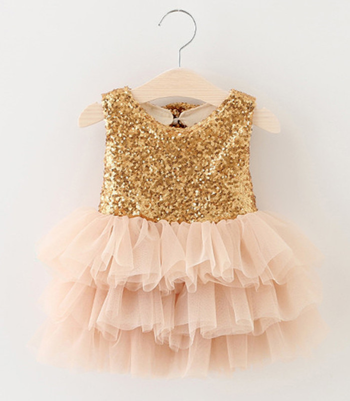0-2Y Girls Birthday Party Dress Gold Sequin Princess Dresses Mesh Two Bow Baby Kids Clothes Children Summer Formal Dress