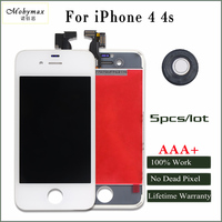 Mobymax 5PCS AAA Quality For IPhone 4 4s LCD Display Touch Screen Digitizer Assembly Replacement In