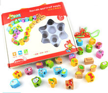 Free shipping, animals and fruit blocks, strings of beads series, children's educational toys, wooden toys  стоимость