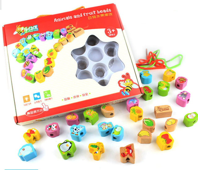 Free shipping children's educational animals and fruit blocks, wooden strings of beads series toys