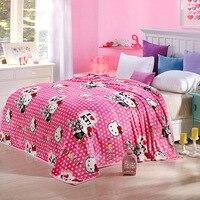 Hello Kitty Dot Blanket Kids Adult Cartoon Blanket Soft Thick Warm Velvet Blanket Thow On Bed