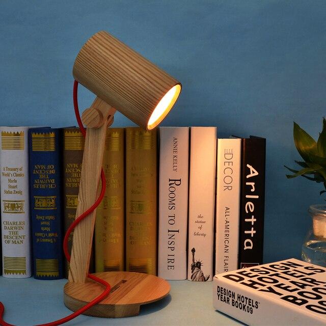 Nordic Vintage Solid Wood Table Lamp Bedroom Study Decorated Antique LED Desk lamp Bedside Light Cafe Bar Store Restaurant