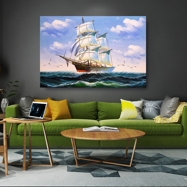 Embelish Large Size Sailing Boat Modern Wall Art Pictures For Living Room Ship Seascape HD ...