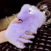 Luxury Rhinestone Bling Fluffy Soft Rabbit Hair Winter Phone case for iPhone 5C 6 6S 6