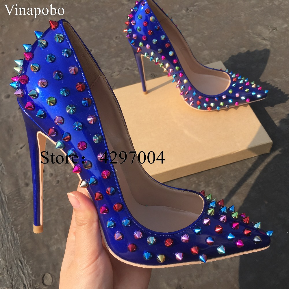 2019 Classic Rivets Woman Pumps Luxury Blue Pointy Toe Stilettos Heels Spikes High Heels Sexy Formal Evening Wedding Shoes Women