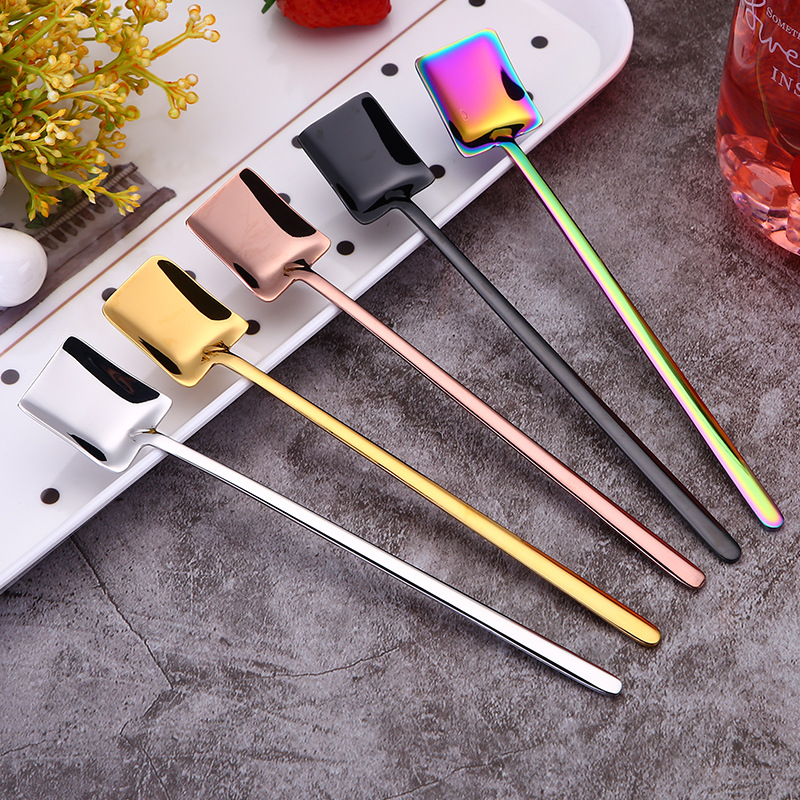 BalleenShiny Colorful Coffee Stir Spoon Long Handle Kitchen Tableware Cake Dessert Scoop Honey Bar Cocktail Hotel Teaspoon in Other Utensils from Home Garden