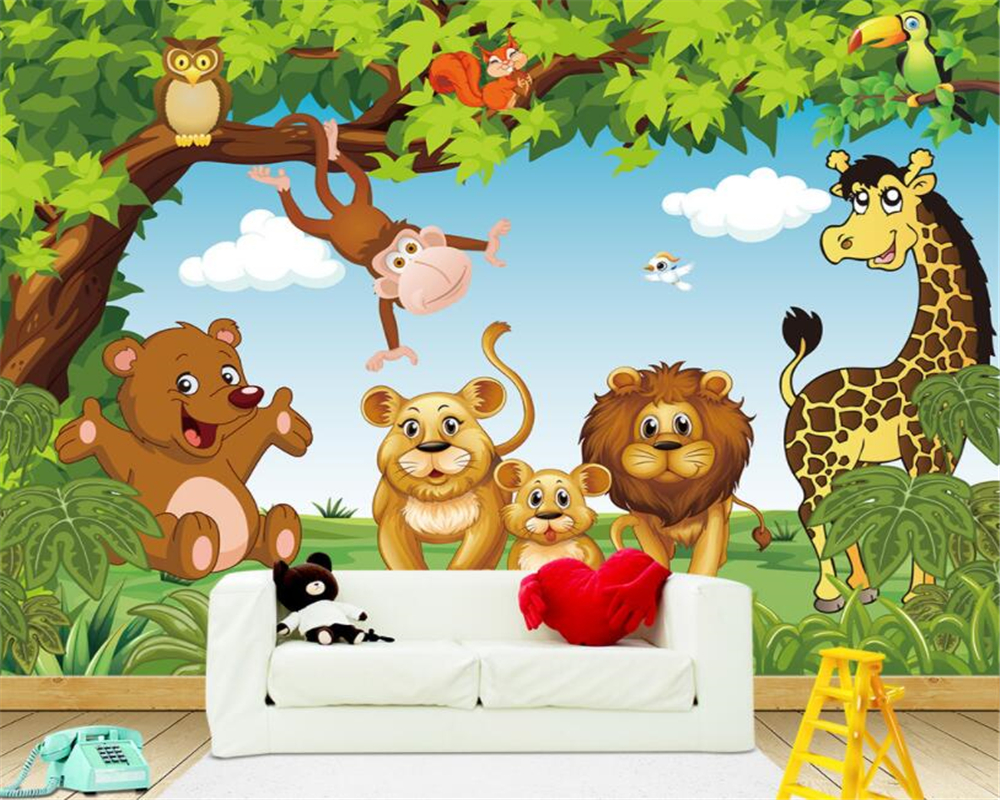 Beibehang Custom 3D wallpaper cartoon animal woods