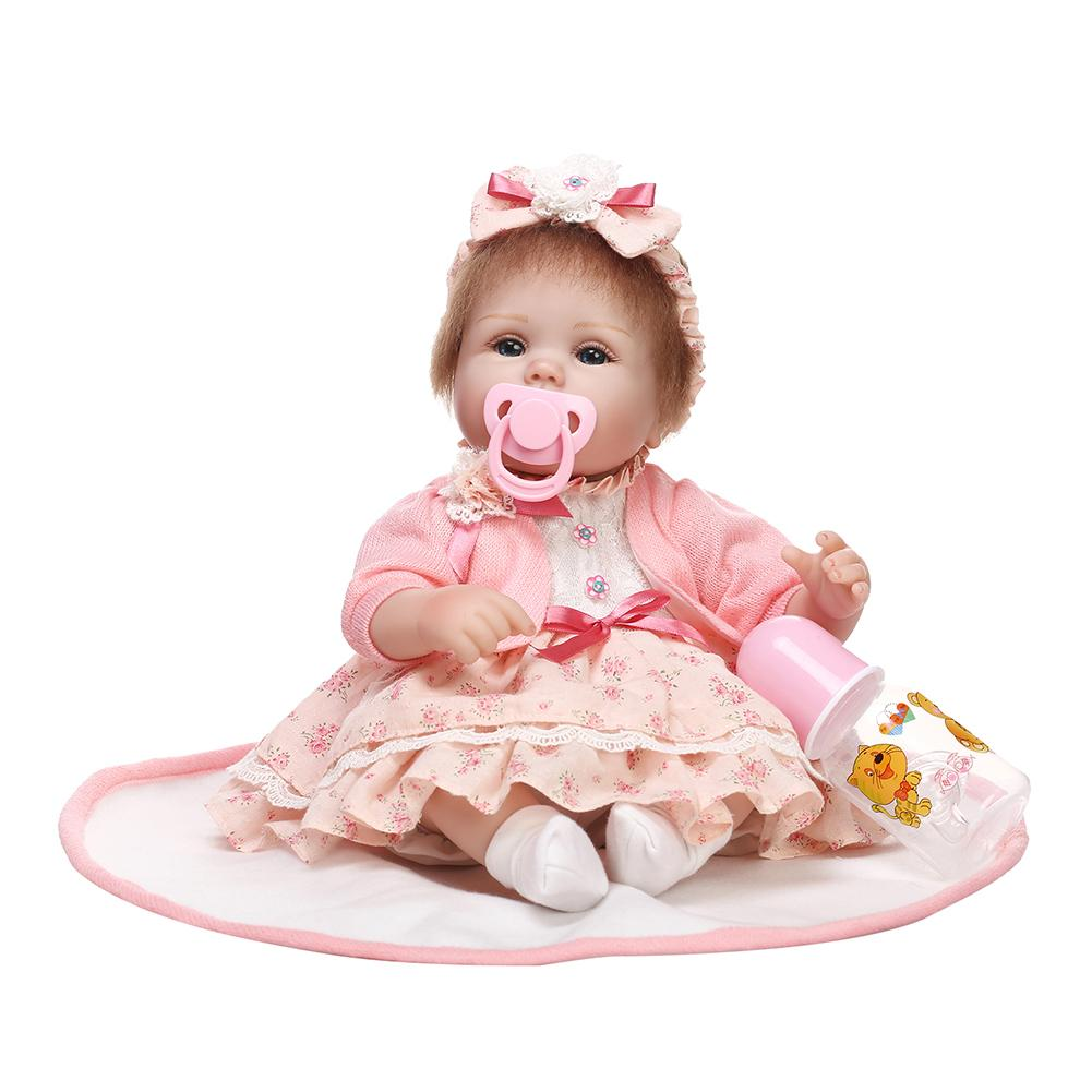 Fashion 16inch Vinyl Silicone Lifelike Reborn Skirt Baby Doll Children Pretend Play Toy Fashion 16inch Vinyl Silicone Lifelike Reborn Skirt Baby Doll Children Pretend Play Toy