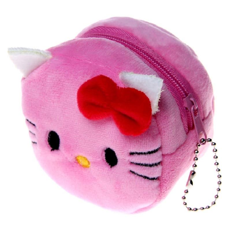 (6 pcs/pcs)Plush cartoon kitty womens wallets ladies mini coin purses small pouches money bags carteiras femininas for girls