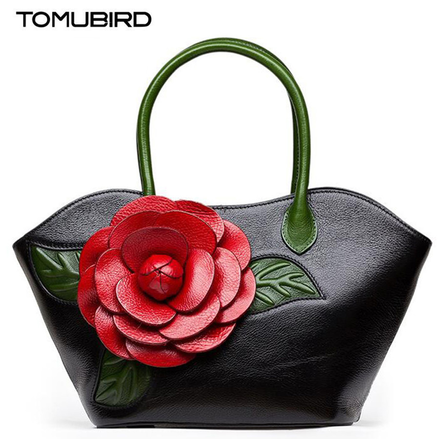 Fashion tote bags for women bag genuine leather handbag quality handmade dimensional flowers Ladies Brand bolsa feminina saco famous brand women canvas bags shoulder bag italy handbag style retro handmade bolsa feminina braccialini for ladies mexico bags