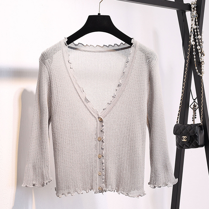 Women Ruffles V Neck Knitted Casual Sweaters Cardigans Lady Short Sleeve Knitting Outwear Cardigan Top for Female in Cardigans from Women 39 s Clothing