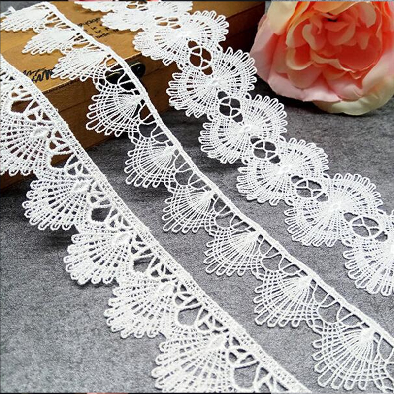 Embroidered Vintage Cotton Lace Edge Trim Wedding Dress Applique Sewing Craft