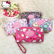 Hello Kitty Cute Cartoon Wallet hellokitty Cosmetic Handbag Travel Girls Convenient Wrist Bag Make Up Wash Beauty Plush Backpack подвеска hello kitty hnl1704chc hellokitty