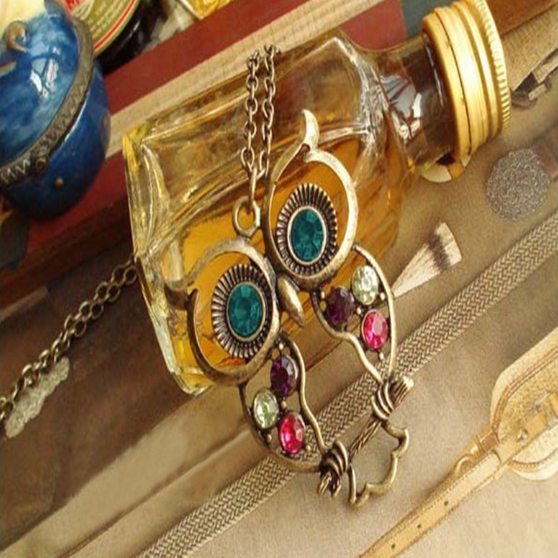 Necklace Women Vintage Colored Crystal Owl Necklace Women Pendant Long Sweater Necklace Jewerly # 1509382