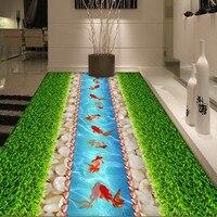 Бесплатная доставка на заказ зеленая трава Pebble Золотая рыбка 3D стерео этаж росписи торговый центр коридор кухня полы обои